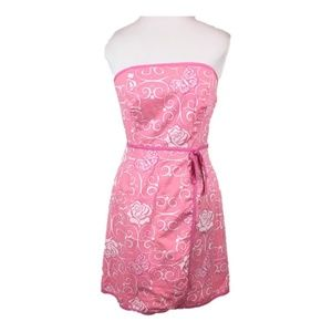 Lilly Pulitzer 6 Pink strapless dress rose print